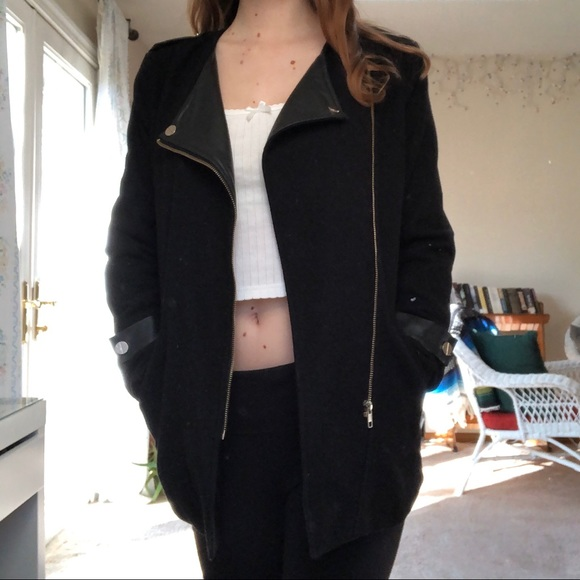 SHEIN Jackets & Blazers - faux leather lapel black coat